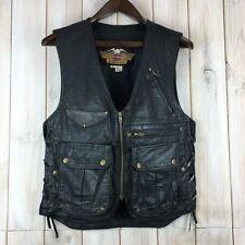 Vintage Harley Davidson Willie G Cargo Style Leather Black Biker Vest USA Made S