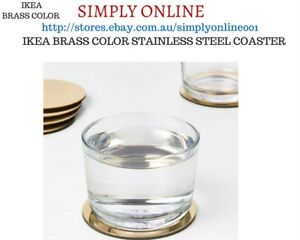 Round Ikea Brass Colour 2 Pcs Coasters Glass Beer Mug Drink Ebay