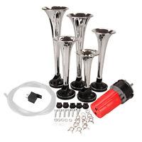 5pcs Car Air Horn Truck Trumpet La Cucaracha Musical Air Horn Kit W/ Compressor