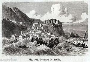 Scilla-terremoto-e-maremoto-del-1783-Stampa-Antica-Passepartout-1880