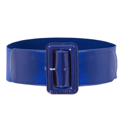 Women's Elastic Cinch Belt 3 Wide Fashion Stretch Waist Band PU Leather Buckle