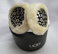 Ugg Earmuffs Wired Tech Black Silver Leather Leopard With Sheep Shearling