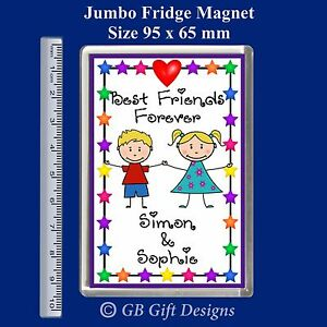 Image Is Loading Personalised Best Friends BFF Boy Girl Jumbo Fridge