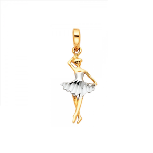 14k solid yellow white gold ballerina pendant ballet dancer necklace image is loading 14k solid yellow white gold ballerina pendant ballet aloadofball Images