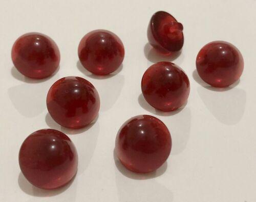 8 Red Shank Buttons 12mm Glass Looking D263 Aussie Seller