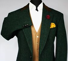 Harris Tweed Blazer Jacket Green Brown Suede Collar 44R AMAZING GARMENT V23