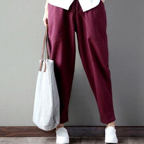 donna pantaloni harem casual larga GAMBA sportivi Pigiama Palazzo Jogger