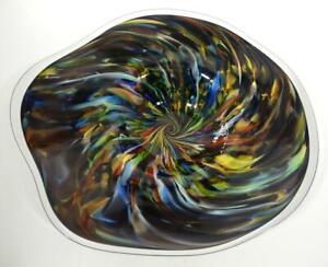 HAND BLOWN GLASS ART WALL PLATTER BOWL PLATE, DIRWOOD, GOLD SPARKLES, n3502