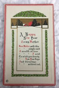 Vintage-Happy-New-Year-Flowers-To-My-Mother-Postcard-Christmas-Embossed-697-F