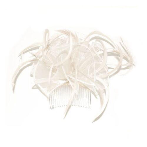 Geschleift /& Feder Kopfschmuck auf Transparent Kamm Verschiedene Farben Hochzeit