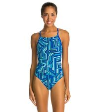 NWT Ladies SPEEDO blue Conquers All Touchback Racing Swimsuit 12 38 MSRP $84
