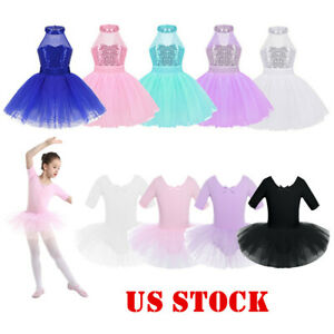 US-Girls-Ballet-Dance-Tutu-Dress-Gymnastics-Leotard-Dancewear-Ballerina-Costumes