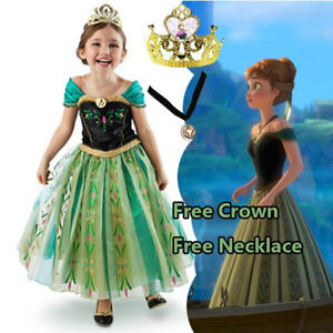 Girl-Frozen-Anna-Costume-Dress-Party-with-Tiara-and-Necklace-size-3-11-Years