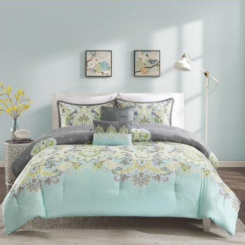 BEAUTIFUL CHIC SOFT BLUE AQUA TEAL YELLOW GREEN GREY BOHEMIAN COMFORTER SET NEW!