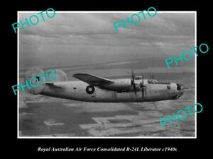 OLD-POSTCARD-SIZE-PHOTO-OF-RAAF-AIR-FORCE-B-24-LIBERATOR-AEROPLANE-c1940s