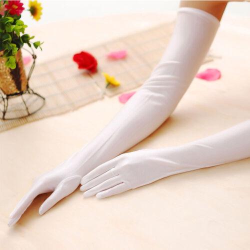 Satin Extra Long Gloves Five Finger Women Stretch Elbow Evening Party Fancy Wear