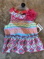Simply Dog Pink Multi Color Festival Dress Puppy/dog -xsmall