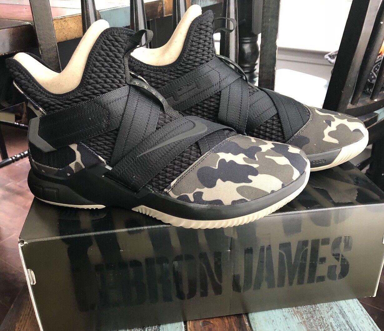 Nike Lebron Soldier 12 SFG Camo Mens AO4054-001 Black Hazel Rush shoes Size 12