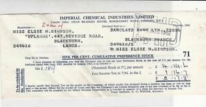 Imperial Chemical Industries Ltd 1962 Dividend Receipt Paid to Barclays Rf 37090