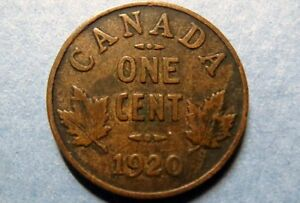 CANADA-1920-Vintage-KING-GEORGE-V-ONE-CENT-034-SMALL-Type-034-COPPER-COIN-Circulated
