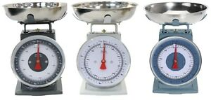 Traditional-Mechanical-Kitchen-Scales-5kg-Blue-Grey-Beige-Stainless-Steel-Bowl