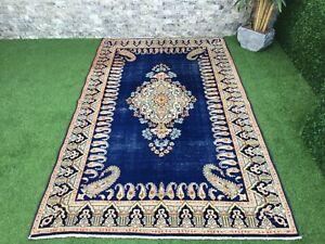4'10''x8'2'' Vintage Turkish Large Rug,Antique Ushak Carpet,Navy Blue Oushak Rug