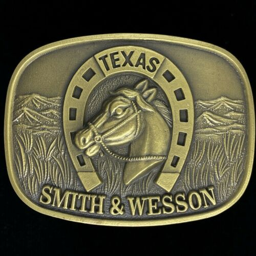 Smith Wesson S /& W Cowboy Western Cast Solid Bronze Vintage 1970s Belt Buckle