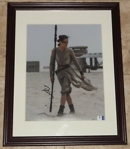 Star Wars Rey Daisy Ridley Signed Autographed Framed 11x14