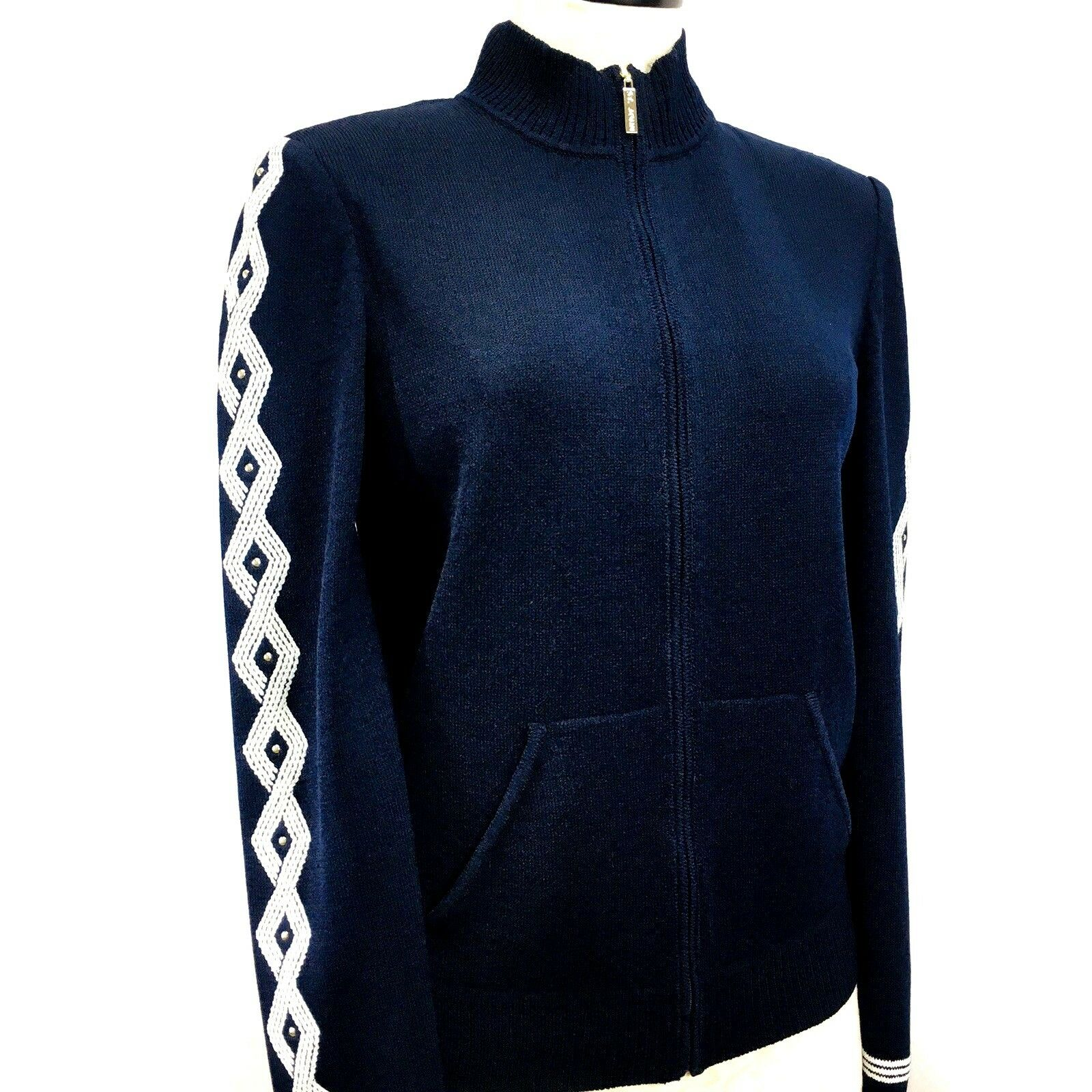 NEW St John Zippered Knit Sweater Navy White Embellished Sleeves Size 12 K60QQ52