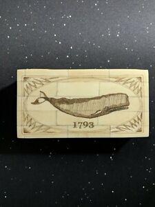 Whale 1793 Scrimshaw Bone Trinket Jewelry Box Antique Reproduction