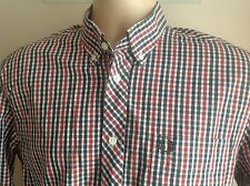 Fred Perry Men's Gingham Check Long Sleeve Shirt Size Medium