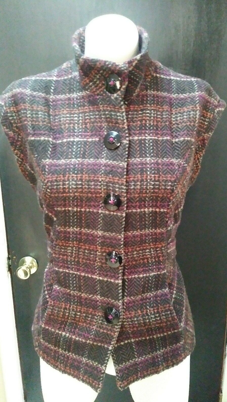 CAbi Grid Vest Plaid Plaid Plaid Wool Blend Size M bb7051