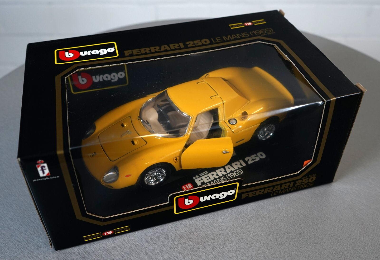 Burago 1 18 Ferrari 250 le mans (1965) Jaune -3033 - les-Cast Modèle Voiture Neuf Neuf dans sa boîte