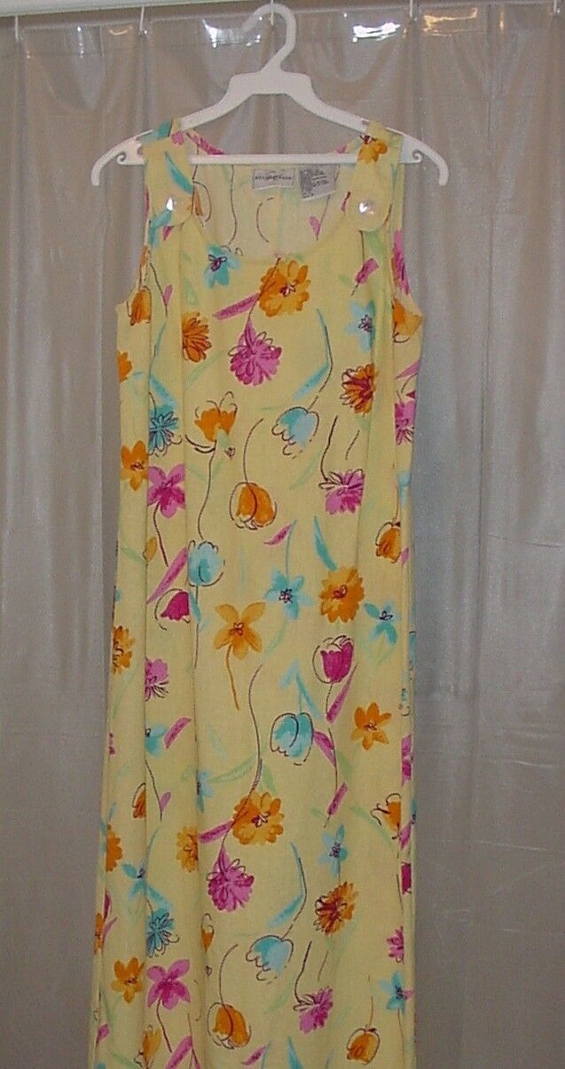 STUDIO EASE ~ Yellow Linen Blend Full Length Sleeveless Dress (8)