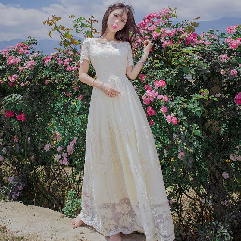 Retro Palace Women Lace Embroidery Princess Long Dress Fashion Lolita Sweet Girl