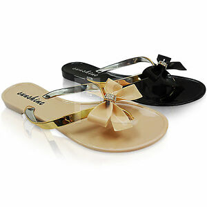 df942cc1d74d NEW WOMENS LADIES BOW DIAMANTE JELLY FLIP FLOPS SANDALS SHOES SIZE ...