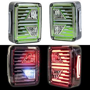 Brake-Reverse-Turn-Signal-Green-Clear-LED-Taillight-fit-07-18-Jeep-JK-Wrangler