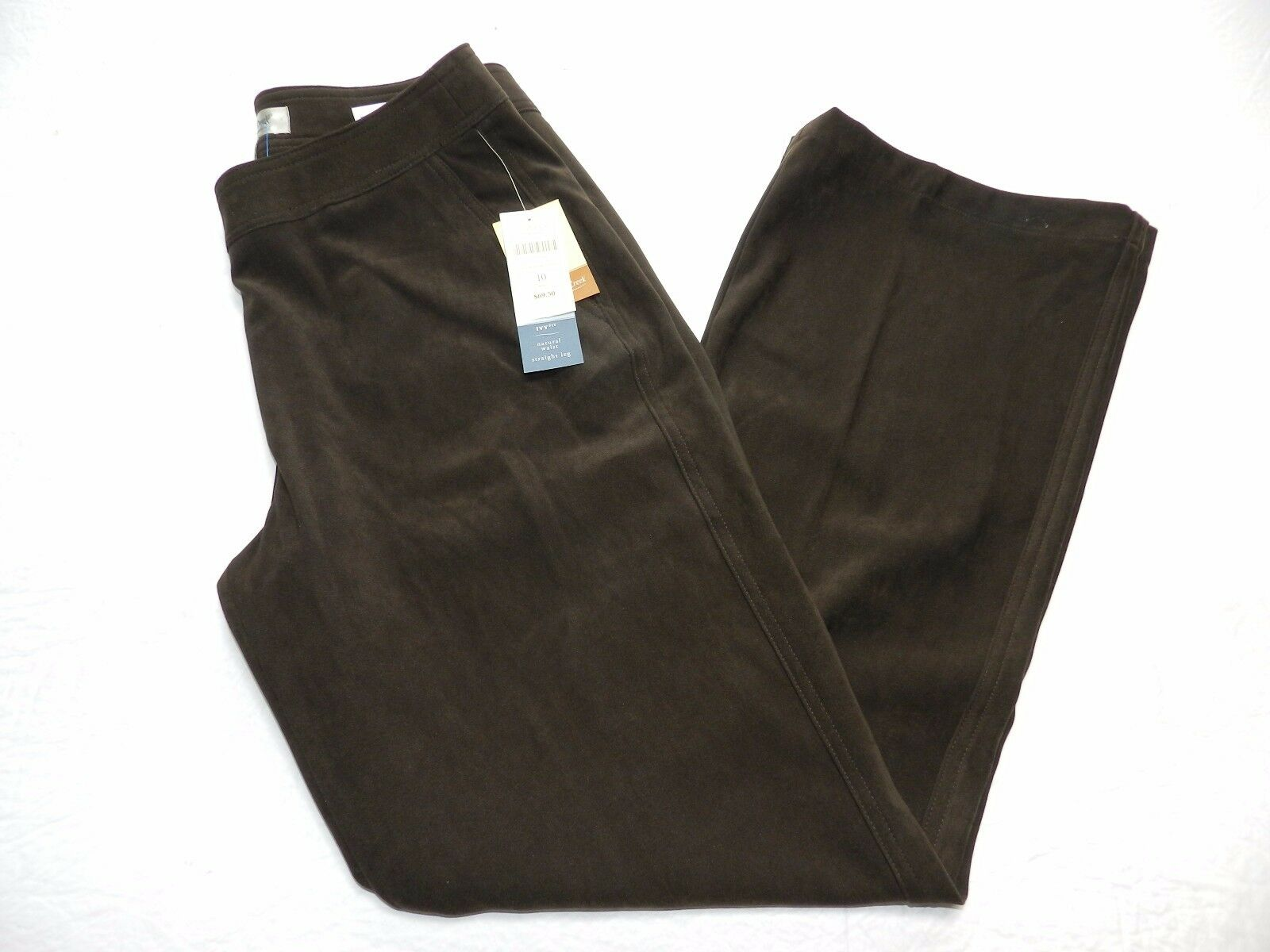 New - WOMENS brown ivy fit moleskin PANTS = COLDWATER CREEK = SIZE 10 = km36