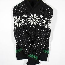 POLO RALPH LAUREN Men's Intarsia Knit Shawl Collar Sweater BLACK Size XL NWT