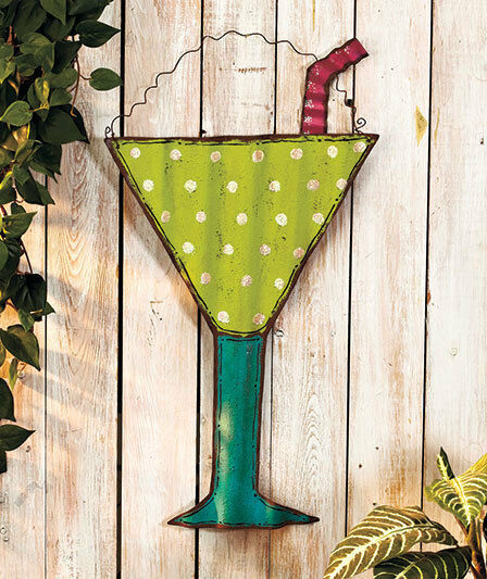Beach Themed Metal Wall Art Hanging Tropical Drink Patio Living Room Deck Decor