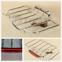 Chrome Luggage Rack With Light For Harley Tour Pak Pack Trunk Touring Road King