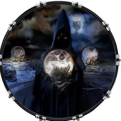 22 custom bass kick drum front head graphic graphical reaper globe ebay. Black Bedroom Furniture Sets. Home Design Ideas