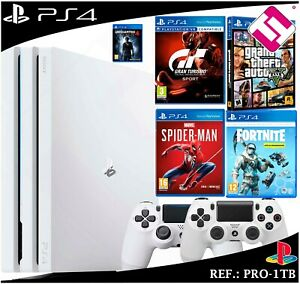 PS4-PLAYSTATION-4-PRO-1TB-BLANCA-2-MANDOS-GTA-GT-SPIDERMAN-FORNITE-UNCHARTED-4