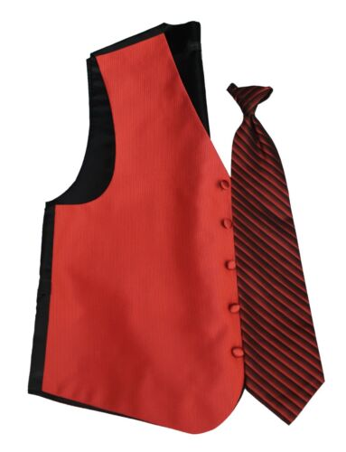 Persimmon Orange Red Joseph Abboud Faille Fullback Tuxedo Vest /& Tie Wedding