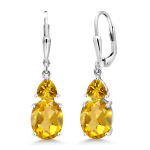 5-62-Ct-Oval-Yellow-Citrine-925-Sterling-Silver-Earrings