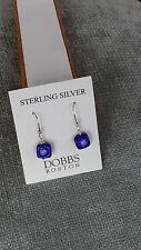 Stering Silver Square Shape Blue Murano Glass Earrings Dobbs Boston Italy