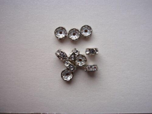 4 Swarovski ® pedrería facetada 6mm Crystal//plata