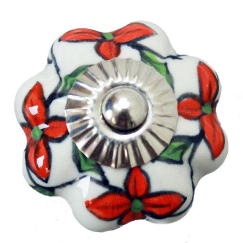 Möbelknopf Möbelgriff Möbelknöpfe Keramik Möbelknäufe Vintage Weiß Orange 115