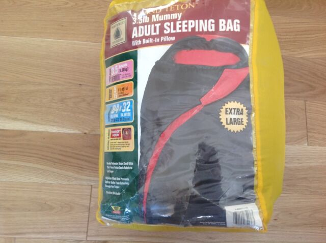 Camping Hiking Xl Mummy Sleeping Bag With Built In Pillow