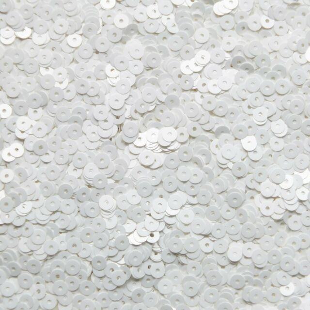 4mm Flat SEQUIN PAILLETTE Loose ~ Matte Frosted Satin White ~ Made in USA